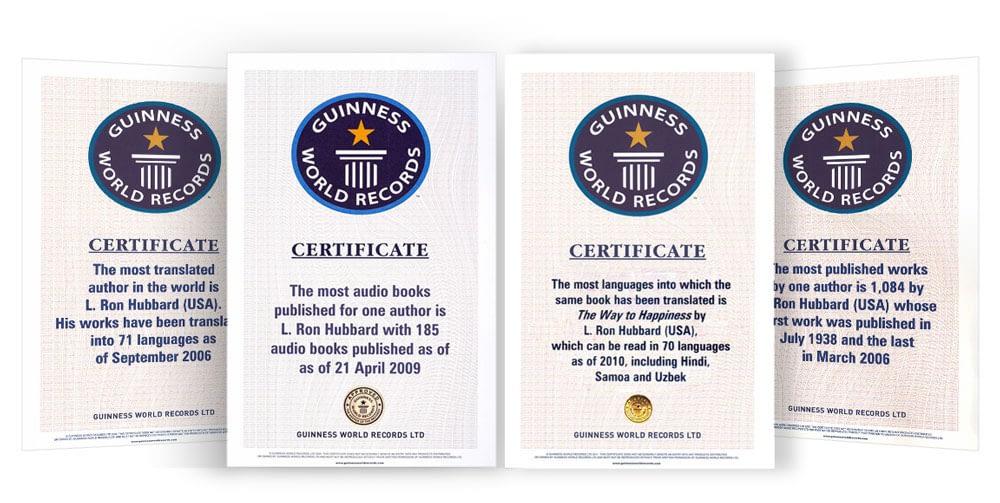 Сертификаты рекордов Гиннеса для Л. Рона Хаббарда